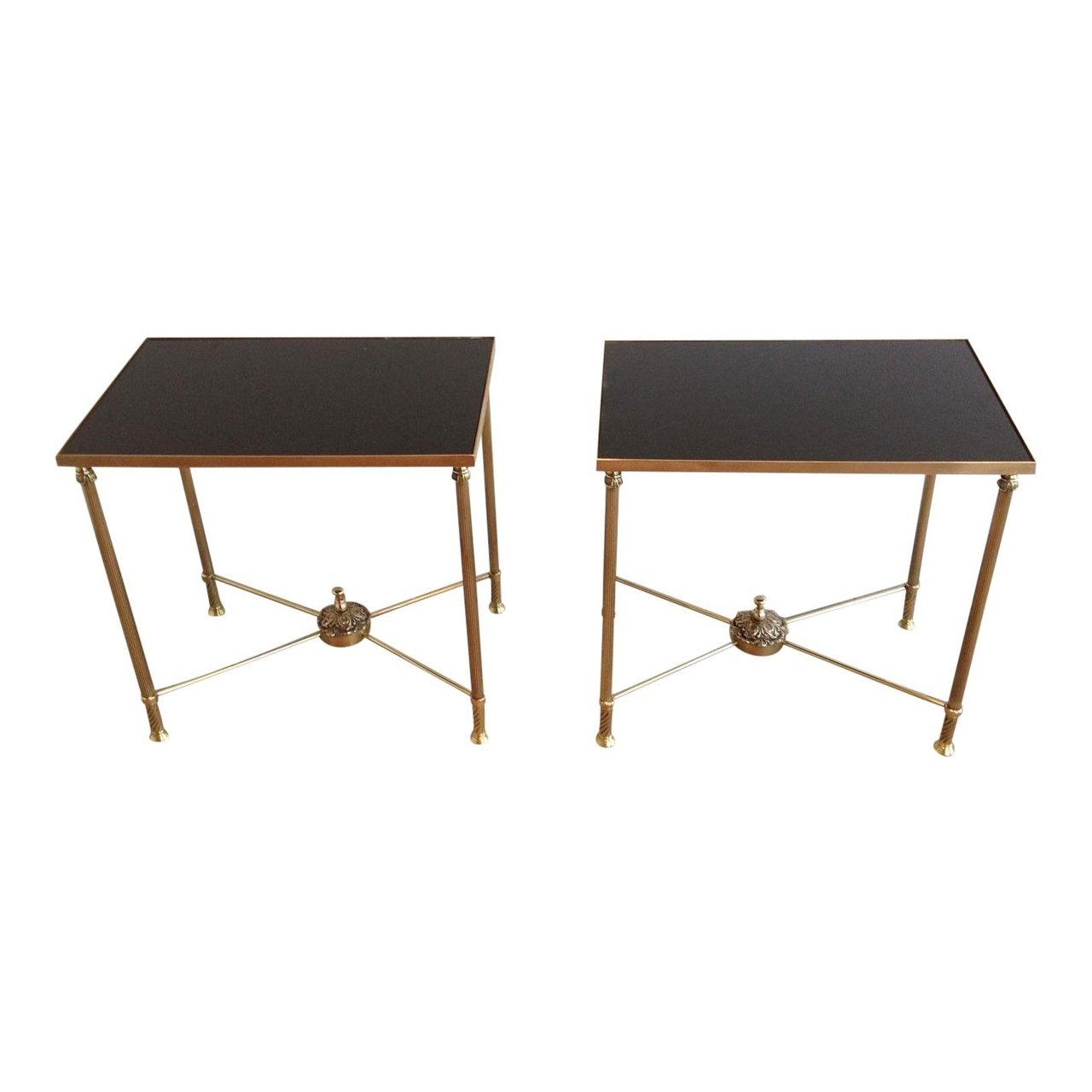 Mid Century Pair Of Brass End Tables With Black Opaline Glass