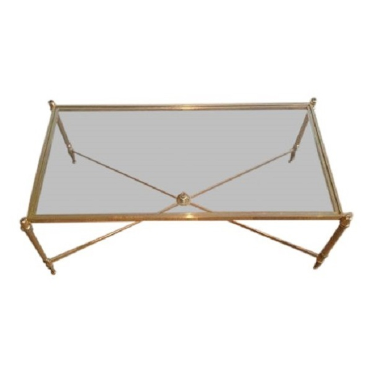 Picture of: Rectangular Mid Century Brass Coffee Table With Clear Glass Top Cross Stretcher Maison De Provence